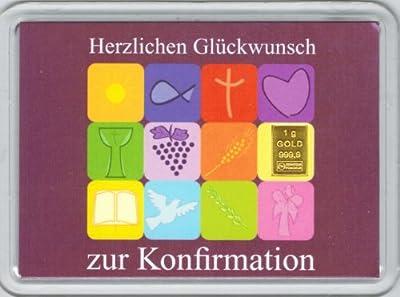"""1g Goldbarren 999,9 Feingold in Motivbox """"Herzlichen Glückwunsch zur Konfirmation"""""""