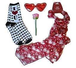 Love Bundle- 4 Items: 1 Pair Heart Shaped Glasses, 1 Scarf, 1 Pair I Love U Socks, 1 Rose Shaped Pop