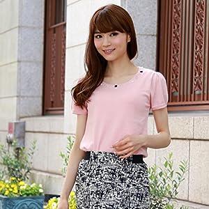 胸元ビジューバックリボン風半袖サマーニット 夏 レディース トップス カラーニット Mサイズ ピンク(18)