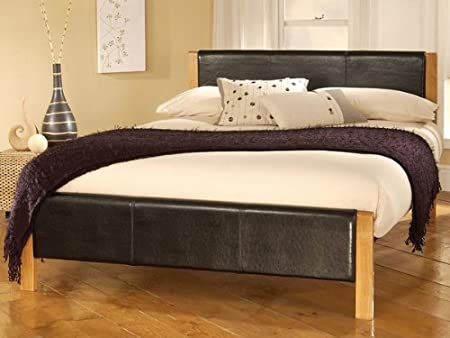 effleurant Mira cadre de lit simple en similicuir noir