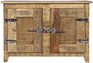SIT-möbel 2507-01 frigo placard en bois de manguier massif avec poignées style porte - 87 x 30 x 60 cm, bois naturel laqué