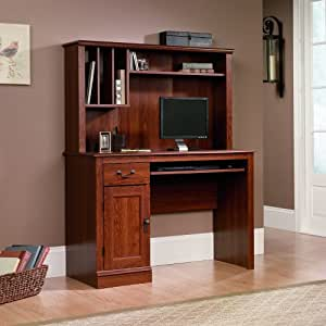 Sauder Camden County Computer Desk with Hutch, Planked Cherry Finish