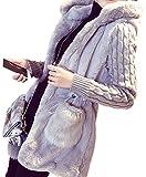 (サラキッド) SaraKid 高品質 ケーブル ニット フェイク ファー コート フード 付き ホワイト グレー ブラウン レディース ボア アウター ふんわり ジャケット カジュアル 防寒 (グレー Lサイズ)