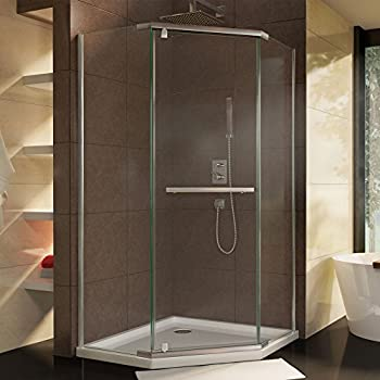DreamLine Prism 34 1/8 in. D x 34 1/8 in. W, Frameless Pivot Shower Enclosure, 3/8
