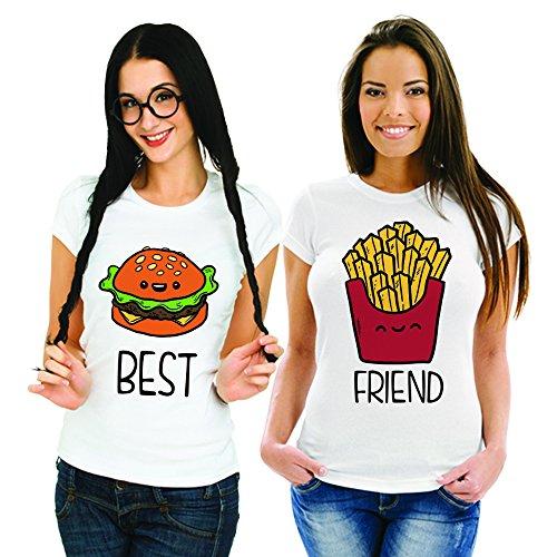 Coppia Di T Shirt Magliette You And Me Best Friend Fast Food Bianche Donna Best M Donna Friend M