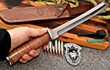CFK Cutlery Company Custom Handmade D2 Tool Steel Tactical MARINE PARANG Short Machete Vietnam Replica Combat Fighter Knife with Leather Sheath & Fire Starter Rod CFK178