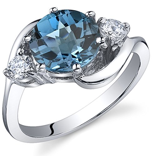 3 Stone Design 2.25 carats London Blue Topaz Ring in Sterling Silver Rhodium Nickel Finish Size 8
