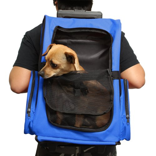 OxGord Rolling Backpack Travel Pet Carrier for Cats, Dogs, and Rabbits – Blue
