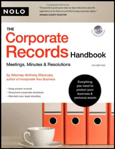 Corporate Records Handbook, The: Meetings, Minutes & Resolutions (book with CD-Rom)
