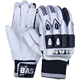 BAS Blaster Men's PU Batting Gloves (Size: Men, White & Black)