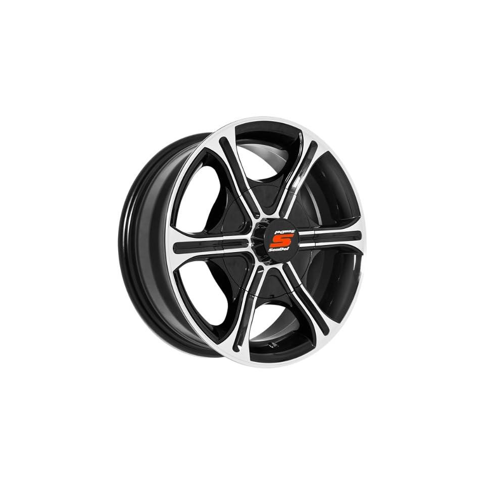 14x5.5 Sendel T05 Trailer Black & Machined Wheel Rim 5x114.3 5x4.5 0mm Offset 81.03mm Hub Bore