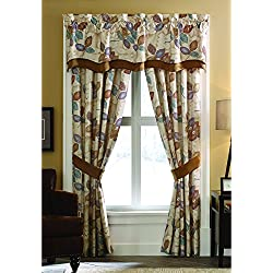 Croscill Home Fashions Mosaic Leaves Layered Scallop Valance, 67 x 19-Inch, Multi, Floral