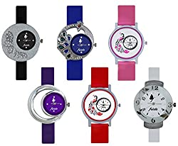 Frida Multi Color PU Belt Analog Casual Combo Multicolour Dial Wrist Watch For Girls and Womens