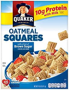 Quaker Oatmeal Squares, Brown Sugar, Breakfast Cereal, 14.5 oz Box