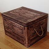 MAMiO【収納 ボックス】 布 ふた付き おしゃれ アンティーク 雑貨 木箱 柄 BOX (雑貨 木箱)