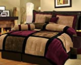 7 Piece Burgundy Brown Black Bed in a Bag Micro Suede FULL Comforter Set with accent pillows