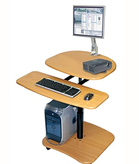 Offex Mobile Height Adjustable Heavy Duty Wood Laminate Computer Workstation with Keyboard Shelf - Oak (OF-LAMC2936)
