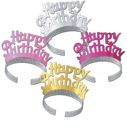 Happy Birthday Tiaras (asstd colors) Party Accessory  (1 count) - 1