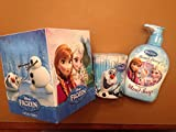 Disney Frozen 3 Piece Bathroom Essentials Gift Set of Frosted Berry Scented Hand Soap, Box of Facial Tissues, and Cotton Swabs featuring Elsa, Anna, and Olaf