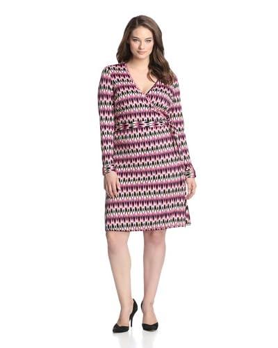 JB by Julie Brown Pl Women's 3/4 Sleeve Wrap Dress  [Pink/Black Hamptons]