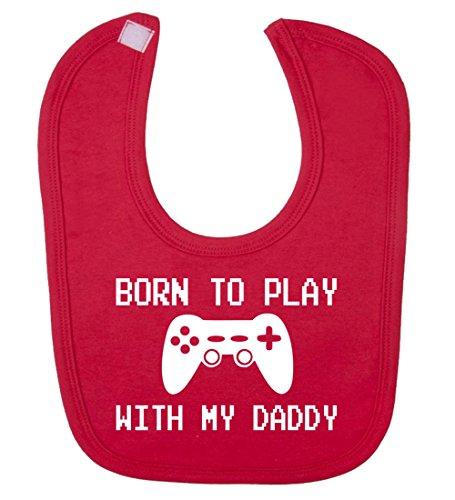 born-giocare-con-my-daddywehaveany-bavaglino-per-bambini-unisex-rosso-taglia-unica