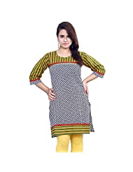 Rama Designer Cotton Multi Festive 3/4 Sleeve Printed Women's Kurti (14RAMA1421088)