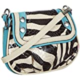 Poodlebags Funkyline - Exotic Remix - Lovi Lovi - zebra petrol 3FL0313LOVIZ, Damen Umhngetaschen 18x16x3 cm (B x H x T)