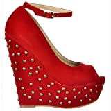 Ladies Womens Red Studded Suede Wedge Peep Toe Platform Shoes Ankle Strap - Red Studded