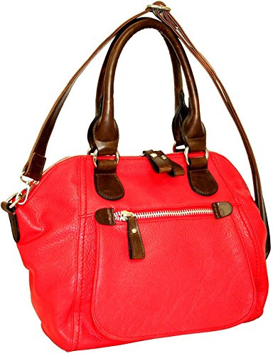 punto-uno-top-zip-satchel-with-detachable-cross-body-strap-red