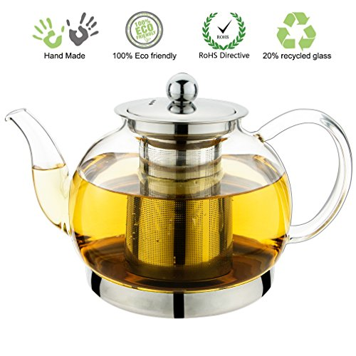 Toyo Hofu Clear Borosilicate Glass teapot with Strainer Coffee pot Stylish Tea Pot with Stainless Steel Infuser , Heat Resistant 1200ml /40 Oz (Heat Resistant Glass Tea Kettle compare prices)