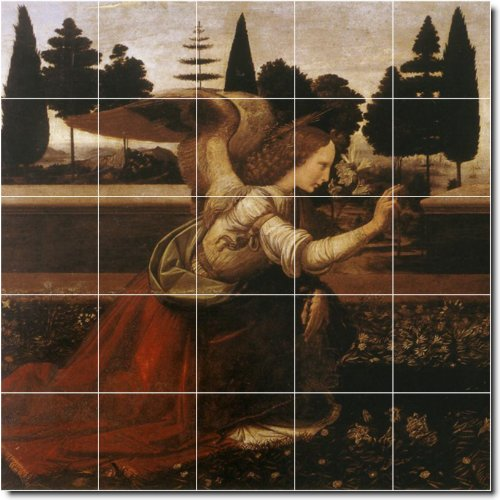 Leonardo Da Vinci Angels Ceramic Tile Mural 23. 21.25X21.25 Inches Using (25) 4.25X4.25 Ceramic Tiles. front-340976
