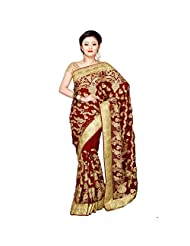 Fancy Awesome Maroon Colored Embroidered Faux Georgette Saree By Triveni