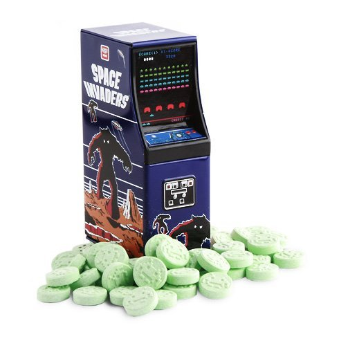 Boston America Space Invaders Sour Apple Alien Candy Arcade Cabinet Tin