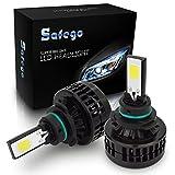 Safego 9005 LED ヘッドライト HB3 フォグランプ 白 車検対応 66W 6000ルーメン/2本セット COB 製 冷却ファン内蔵モデル 360度2面発光 高輝度 12V 6000K 自動車 汎用 交換 コントローラー付き