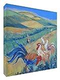 Feel Good Art Lienzo con los colores vivos abstracto parte del artista Val Johnson gallinas en un ámbito, 76 x 76 x 4 cm Talla XL