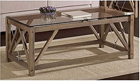 Cable Rustic Rectangle Oak Wood Coffee Table