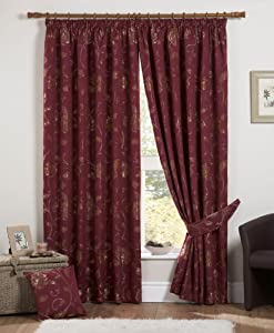 """REGENT RED 90"""" x 108"""" FLORAL FULLY LINED PENCIL PLEAT CURTAINS #YRUBYAM *CUR* by PCJ Supplies"""