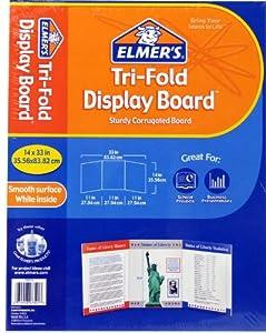 Elmer's  Corrugate Tri-Fold Project Display Board, 14 x 33 Inches, White (730110)