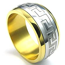 buy Konov Mens Stainless Steel Ring, Classic Spinner Band, Gold Silver, Size 9