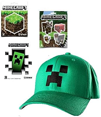 Minecraft Green Creeper Flex-fit Baseball Cap 9 Stickers Gift Set from MOJANG