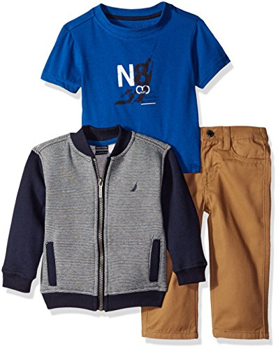 Nautica Baby Three Piece Set with Fleece Baseball Full Zip, Short Sleeve Tee, Twill Pant, Sport Navy, 24 Months