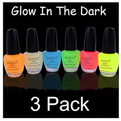 3 Pack Of Glow In The Dark Nail Polish & Bracelet