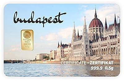Goldbarren Geschenkkarte 0,5 g 0,5g Gramm Feingold 999.9 Nadir Gold Stadt Budapest