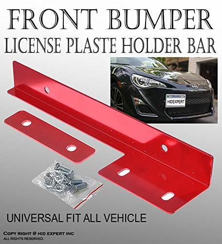JDM Red Aluminum Bumper Front License Plate Mount Relocate Bracket V#38 (2014 Dodge Charger Bumper compare prices)