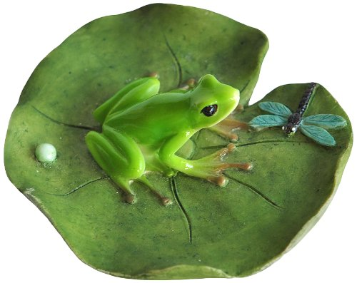 Top Collection Miniature Fairy Garden and Terrarium Frog and Dragonfly on Lotus Leaf Statue (Miniature Resin Frog compare prices)