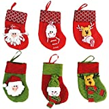 Pack Of 6 Christmas Decorative Stockings (Small,3.94x 5.12x7.09)