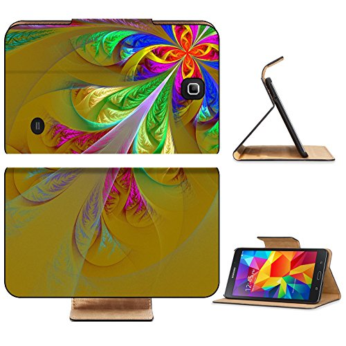 Liili Premium Samsung Galaxy Tab 4 7.0 Inch Flip Wallet Case IMAGE ID: 26951367 Diagonal symmetric multicolor fractal tracery Collection frosty pattern On brown