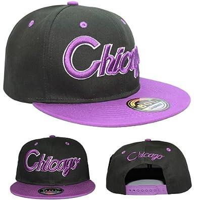 BLACK/PURPLE CHICAGO SNAPBACK FLAT PEAK CAP SUPER COOL RETRO LOOK