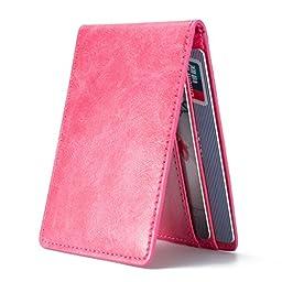 Ultra Slim Mini Bifold Wallet ID Window Card Case with RFID Blocking - Hot Pink