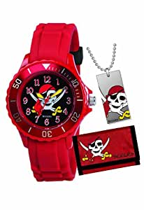 Tikkers Boys Red Pirate Gift Set Silcon Strap Watch, Wallet and Dog Tag Gift Set